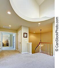 hallway, ceiling., hoog, luxe, interieur, thuis, ronde