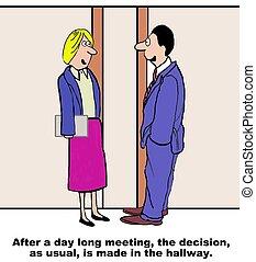 Hallway Decision - Business cartoon highlighting how often...