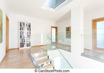 Hallway in modern house - Hallway with white walls in modern...