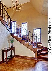 hallway, ingang, trap, woning, luxe, interior.