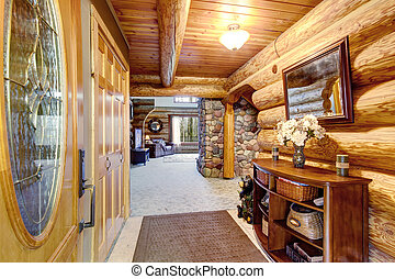 Hallway interior in log cabin house