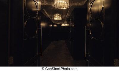 Hallway leading to presidential suites in hotel - Steadicam...
