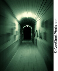 Hallway - Moving trough long dark underground corridor. Zoom...