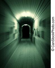 Hallway - Moving trough long dark underground corridor. Zoom...
