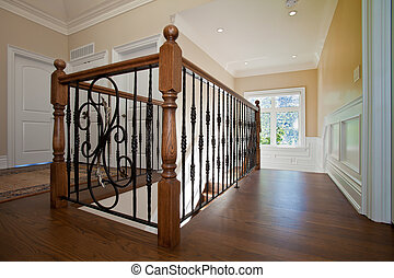 Hallway railing - Closeup of an elegant railing in the...
