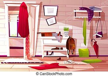 Hallway room messy interior vector illustration of retro...