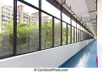 Hallway - Long hallway and outside scene viewed from...