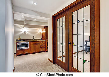 Hallway with french window to office room