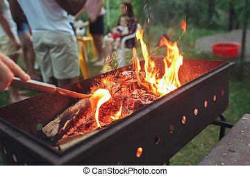 halmok, bitófák, meleg, hajlandó, grillsütő, kandalló