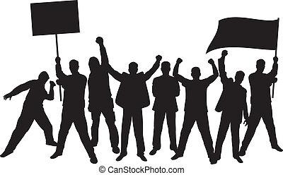 halmok, tiltakozik, dühös, emberek