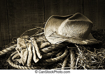 halmstrå, hø balle, handsker, hat