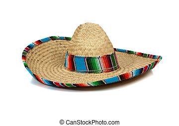 halmstrå, mexikansk, sombrero, på hvide, baggrund