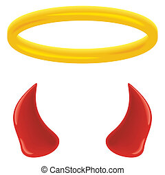 An angel's halo and devil's horns isolated on white.