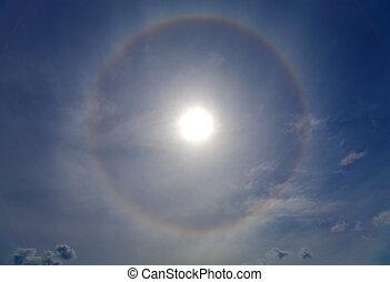 Halo around of the sun - Circles halo in the blue sky around...
