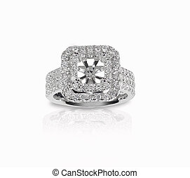 Halo DIamond Engagment Wedding Ring Setting top view with no...