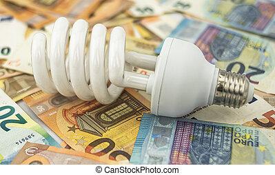 Halogen bulb lying on bed of twenty and fifty euro bills