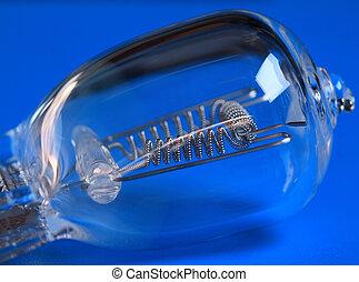 halogen bulb on blue background