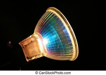 a halogen lamp on a black background