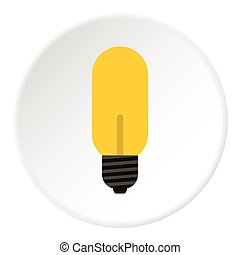 Halogen lamp icon, flat style - Halogen lamp icon. Flat...