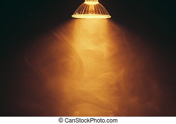 halogen lamp with reflector, warm light in fog