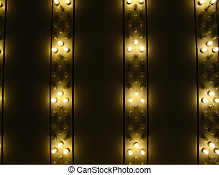 Close up of overhang with halogen marquee lights