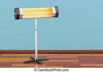 Halogen or infrared heater on the wooden floor. 3D rendering