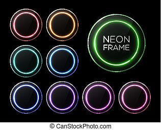 Halogen or led lamp glowing banners set. Colorful neon light circle frames with glass plates collection on black background. Electric technology round borders. Design elements pack vector illustration