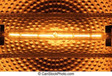 Halogen tube lamp with reflecting background.