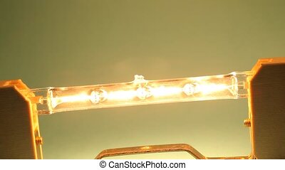 Close up of an electrical halogen bulb
