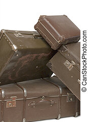 halom, közül, öreg, bőrönd, elszigetelt, white