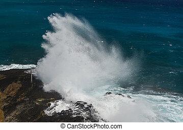 Halona Blow Hole Beach on Oahu, Hawaii