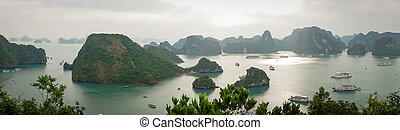 Halong bay in Vietnam. UNESCO World Heritage Site. Mountains in sea