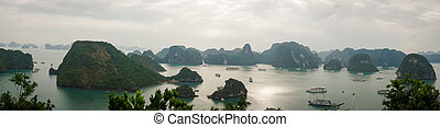 HALONG bay in Vietnam. UNESCO World Heritage Site. View from TiTop island