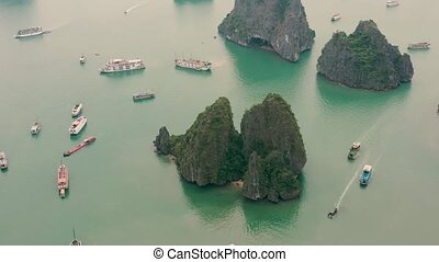 HALONG BAY, VIETNAM - APRIL, 2020: Aerial drone view of ...