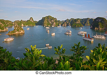 Halong Bay, Vietnam - Tourist Junks in Halong Bay from titop...
