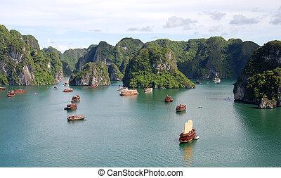 Halong Bay Vietnam - Cruise tourist boats at Halong bay in...