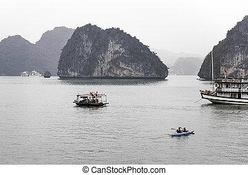 halong, landschaftlich, bucht, asia, südosten, vietnam, ...