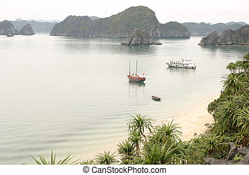 halong, plage, baie
