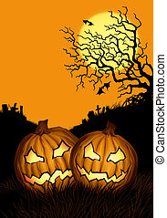 halloween background with two pumpkins and cemetery