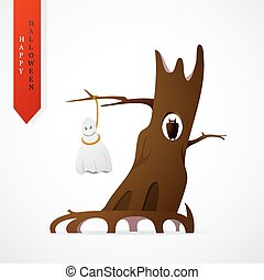 Haloween greeting card cartoon design