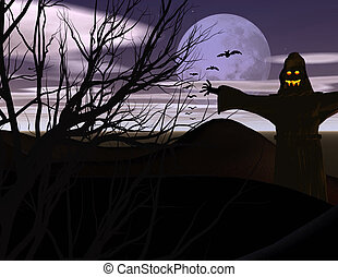 Spokky Scarecrow in field with full moon and bats