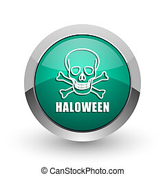 Haloween skull silver metallic chrome web design green round internet icon with shadow on white background.