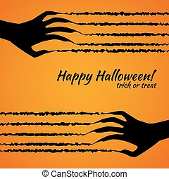 halloween poster trick or treat , scratch on orange background .vector illustration