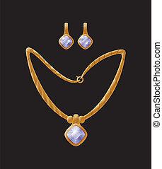 halsband, örhänge, vektor, kollektion, illustration