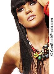 halskæde, beutiful, brunette