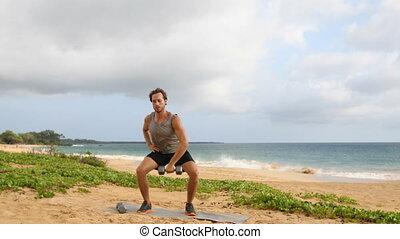 haltère, dumbbells, plage, -, exercices, fitness, fragment, ...