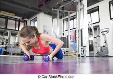 haltère, gymnase, femme, direct, exercice