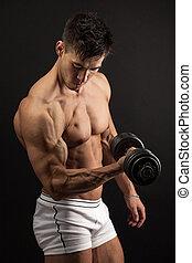 haltère, musculaire, homme, jeune, levage