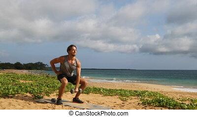 haltère, plage, exercisme, accroupi, aérien, fitness, ...