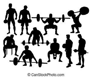 haltérophile, sport, silhouettes